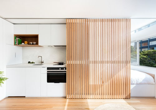 A customised wooden sliding door as a divider