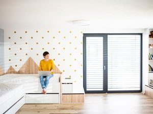Woman Sitting in an Apartment Floor on the Sunshine Coast