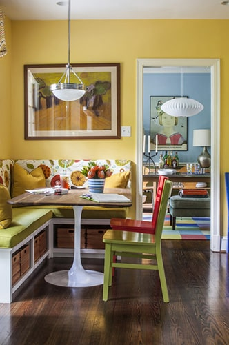 The pale yellow wall design by Marriott Construction Sunshine Coast