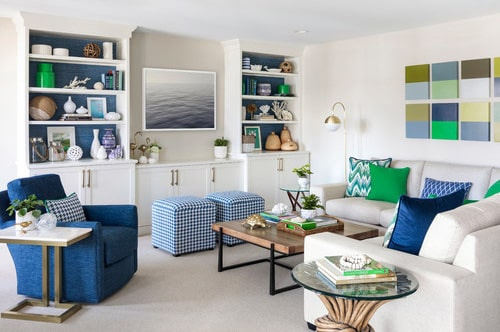dark blue armchair, chequered ottomans By marriott Construction Sunshine Coast